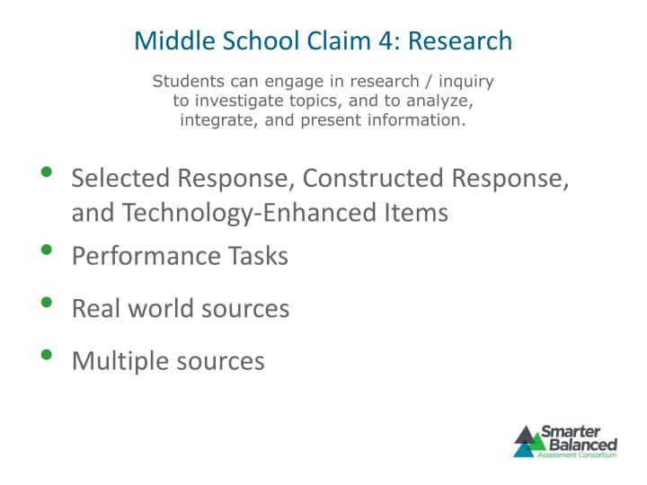 Middle School Claim 4: Research
