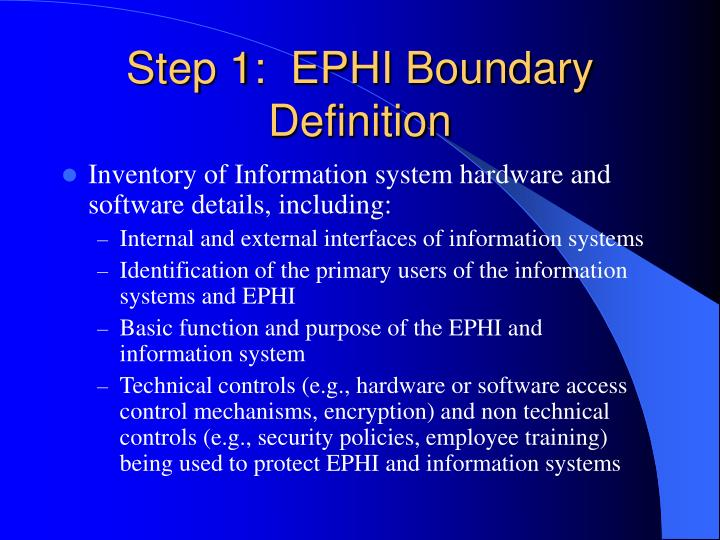 Step 1:  EPHI Boundary Definition