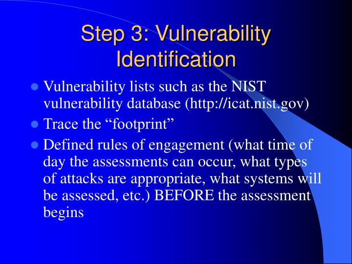 Step 3: Vulnerability Identification