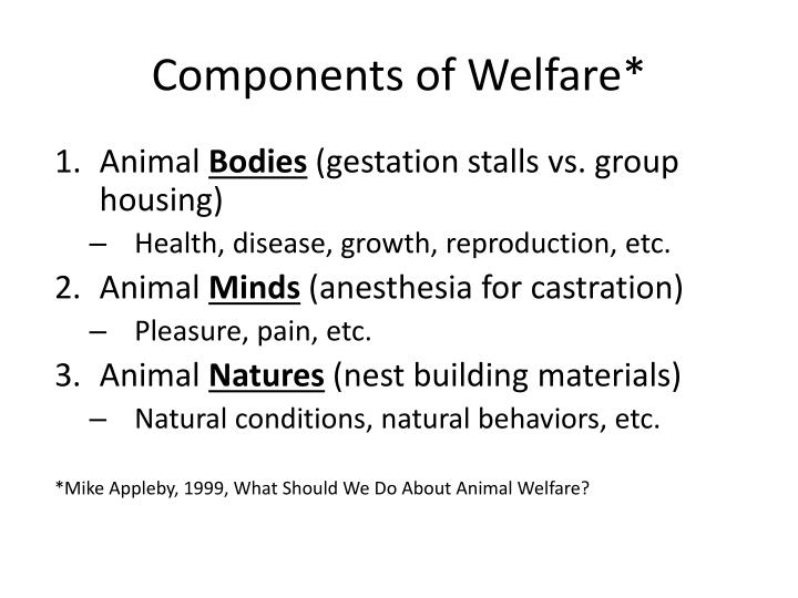 Components of welfare
