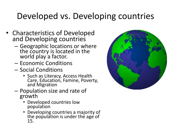Top 25 Developed and Developing Countries