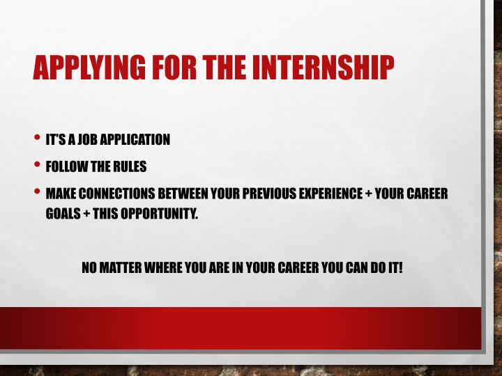 Applying for the Internship