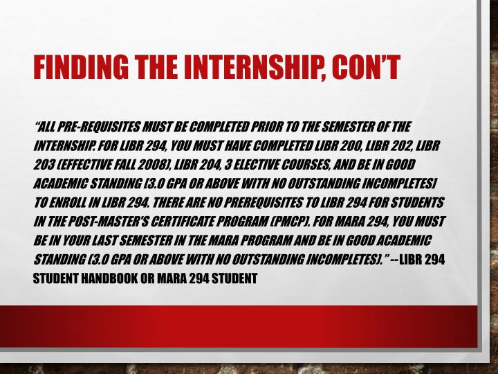 Finding the Internship,
