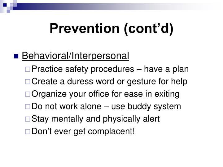 Prevention (cont'd)