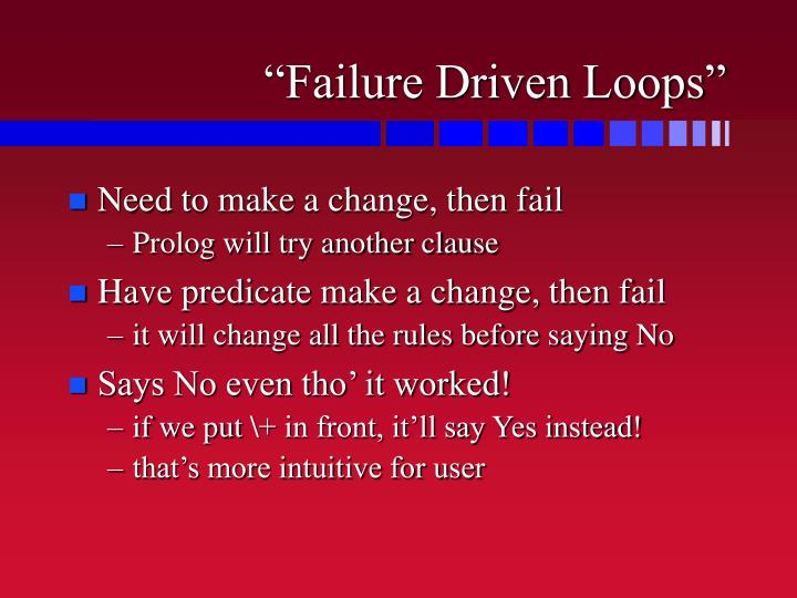 """Failure Driven Loops"""