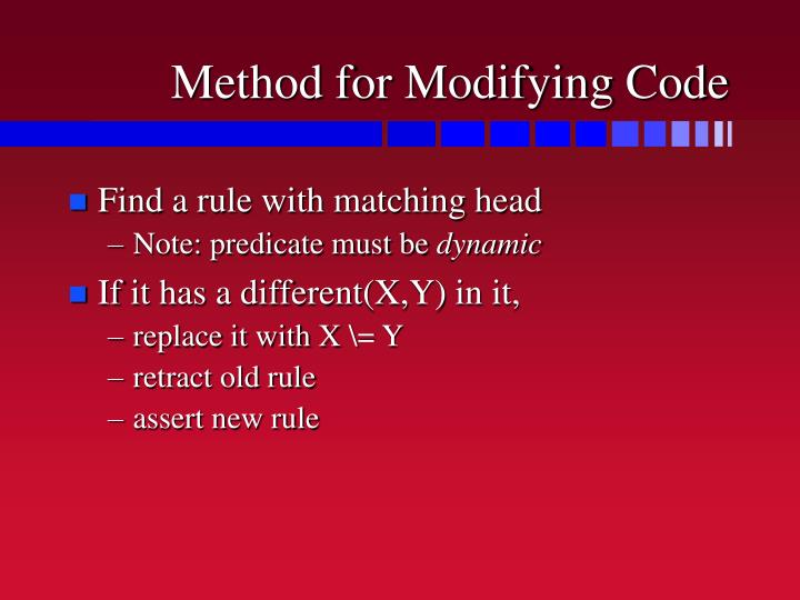 Method for Modifying Code