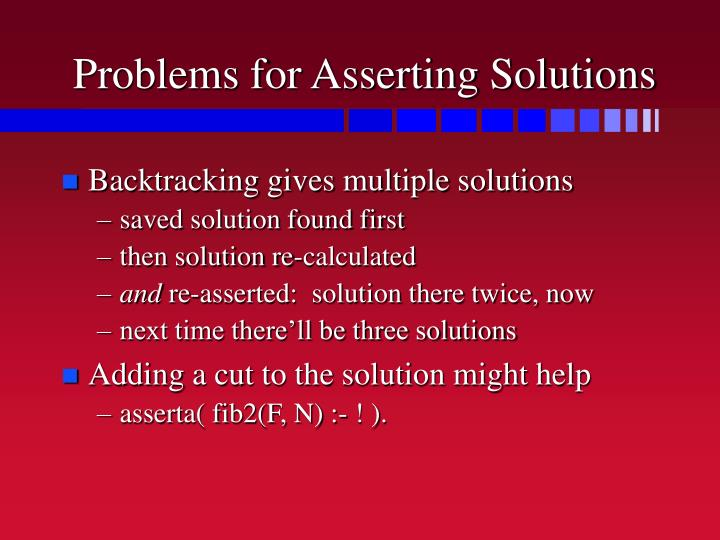 Problems for Asserting Solutions