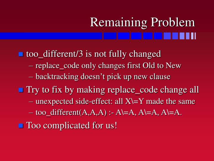 Remaining Problem