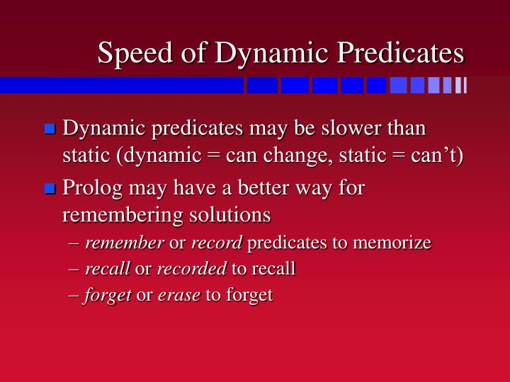 Speed of Dynamic Predicates