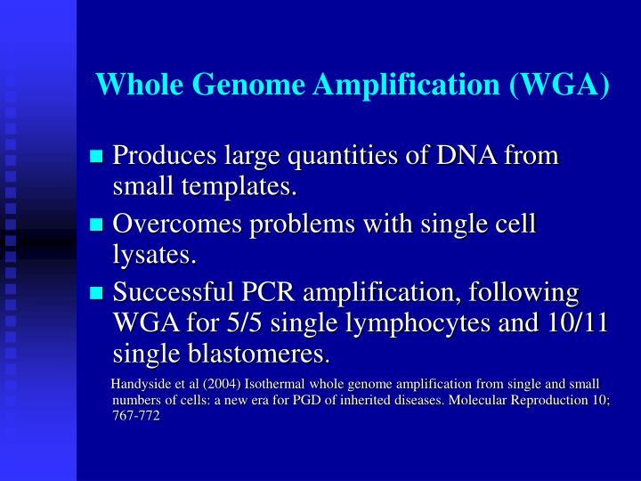 Whole Genome Amplification (WGA)