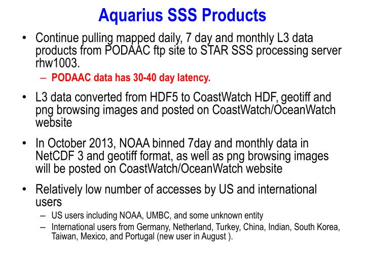 Aquarius SSS Products