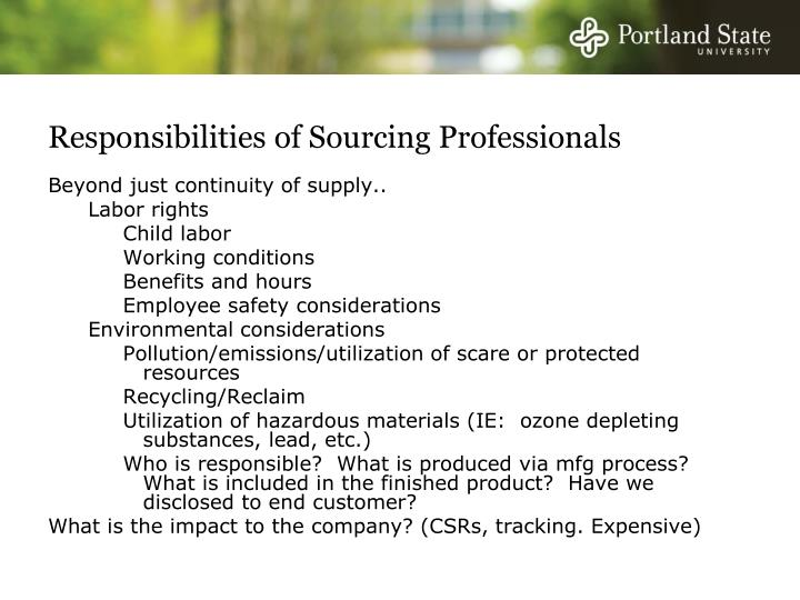 Responsibilities of Sourcing Professionals