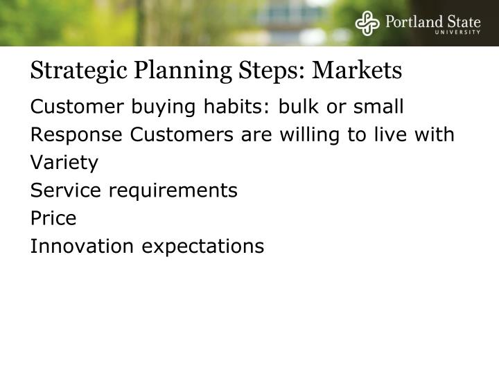 Strategic Planning Steps: Markets