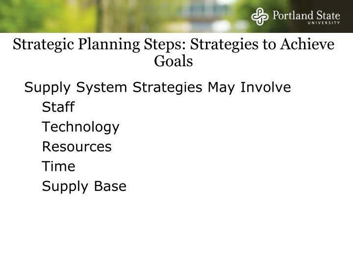 Strategic Planning Steps: Strategies to Achieve Goals