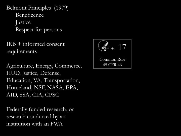 Belmont Principles  (1979)