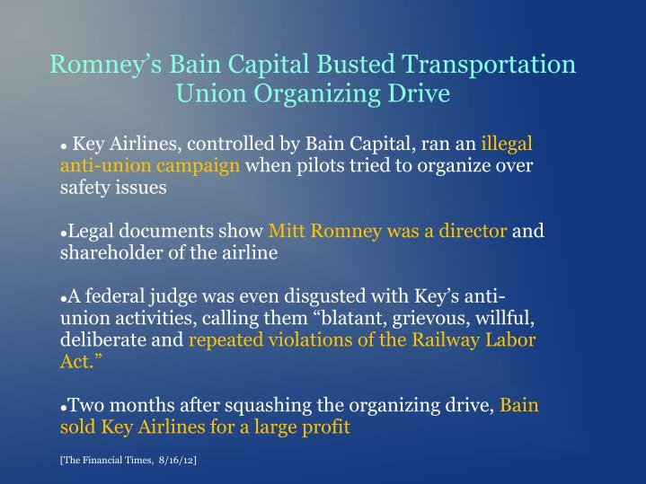 Romney's Bain Capital Busted Transportation Union Organizing Drive