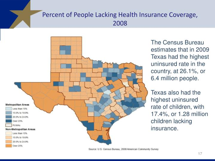 Percent of People Lacking Health Insurance Coverage, 2008