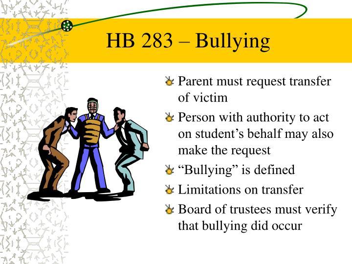 HB 283 – Bullying