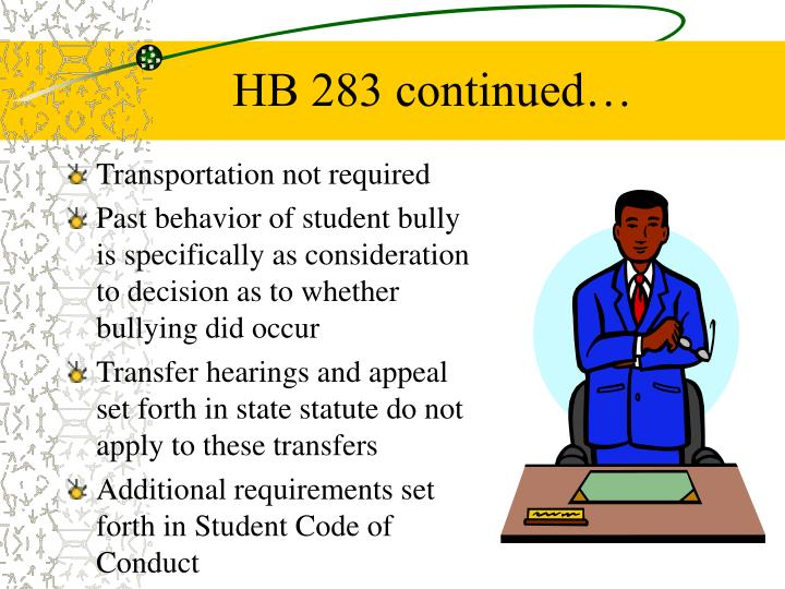 HB 283 continued…