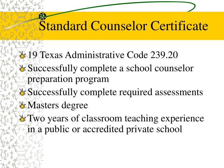 Standard Counselor Certificate
