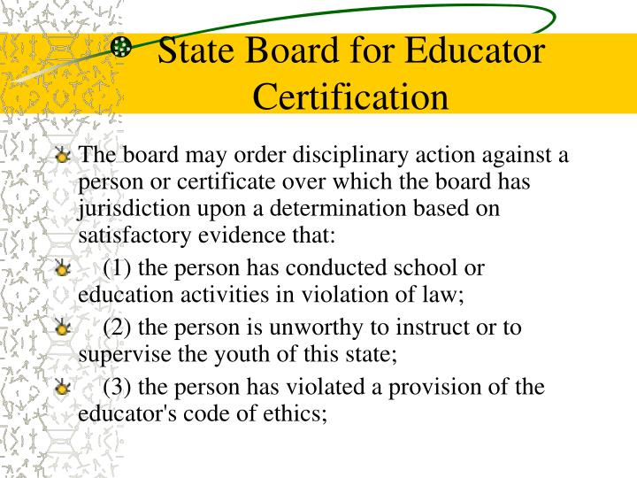 State Board for Educator Certification