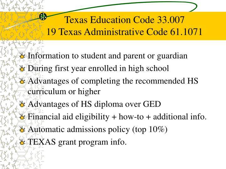 Texas Education Code 33.007