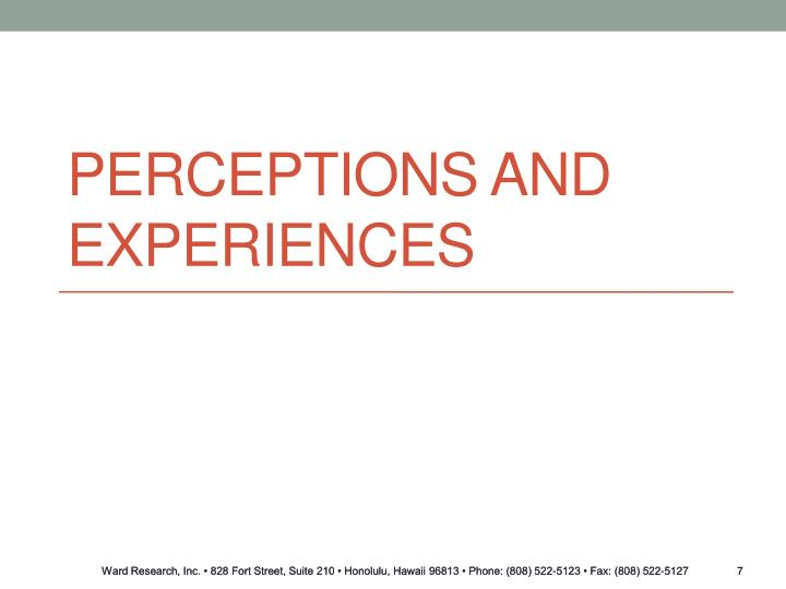 Perceptions and Experiences