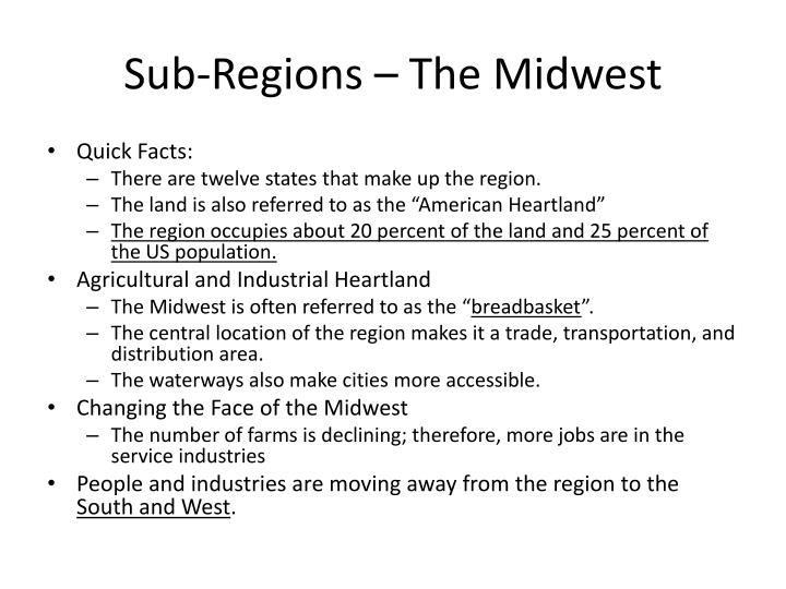 Sub-Regions – The Midwest