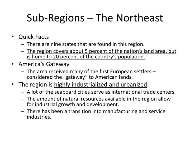 Sub-Regions – The Northeast