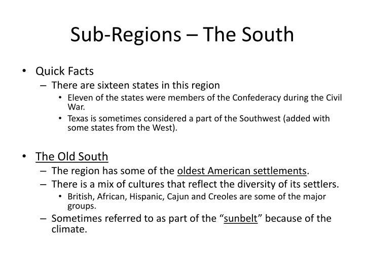 Sub-Regions – The South