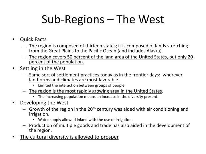 Sub-Regions – The West