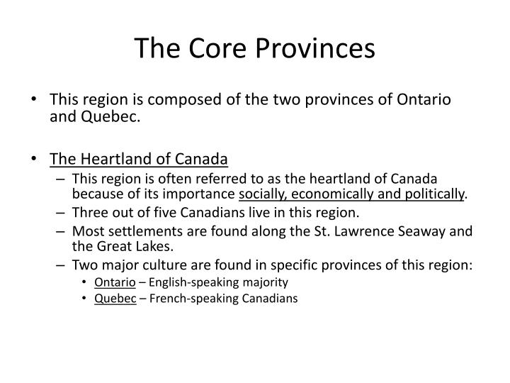 The Core Provinces