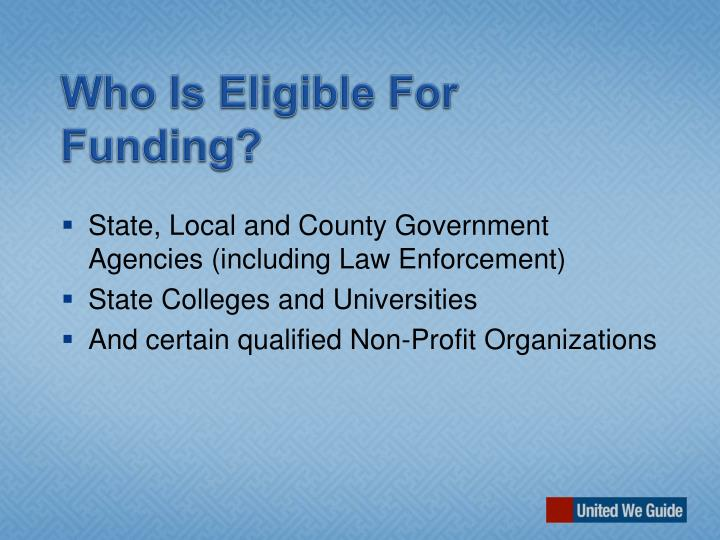Who Is Eligible For Funding?