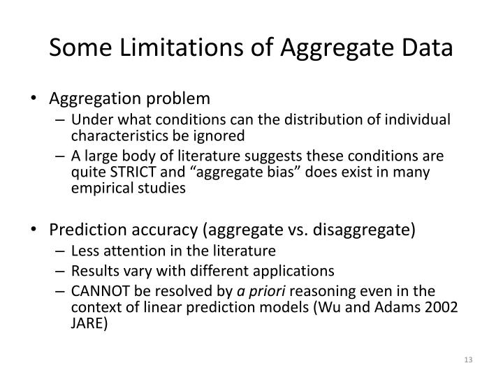 Some Limitations of Aggregate