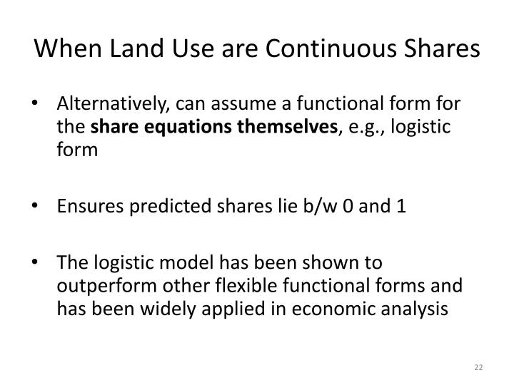 When Land Use are Continuous Shares