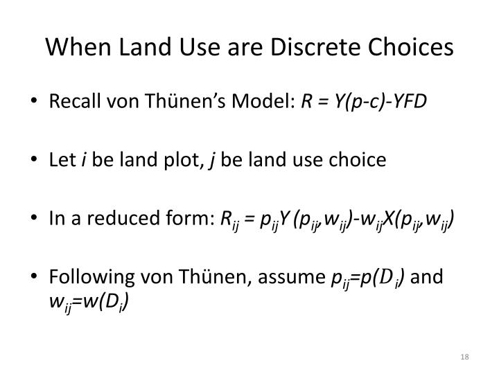 When Land Use are Discrete Choices