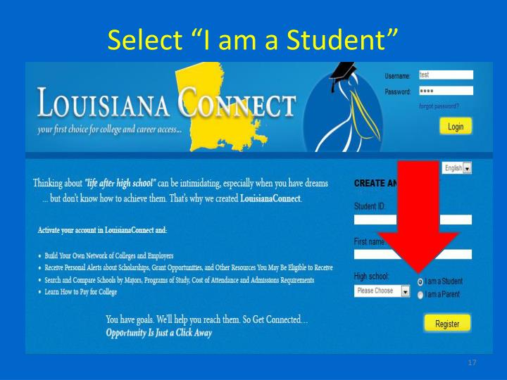 "Select ""I am a Student"""