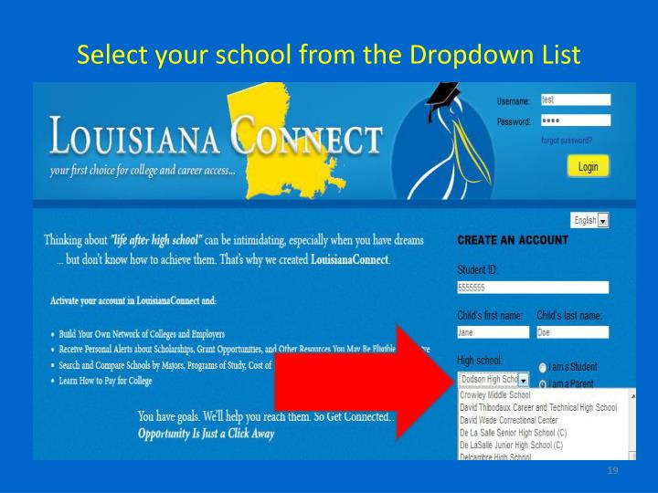 Select your school from the Dropdown List