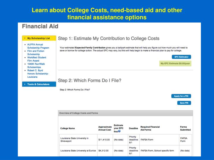 Learn about College Costs, need-based aid and other