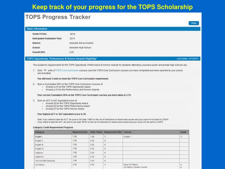 Keep track of your progress for the TOPS Scholarship
