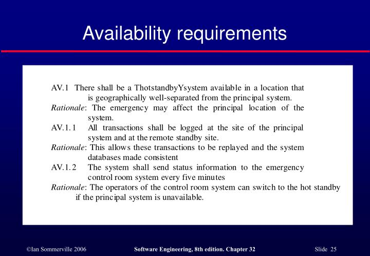 Availability requirements
