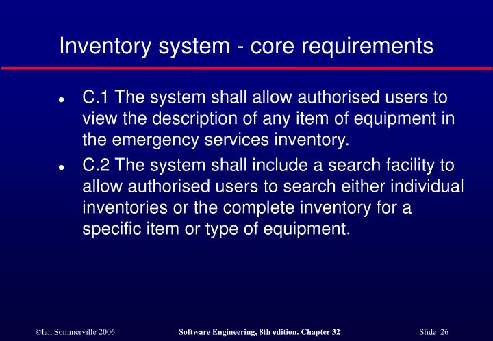 Inventory system - core requirements
