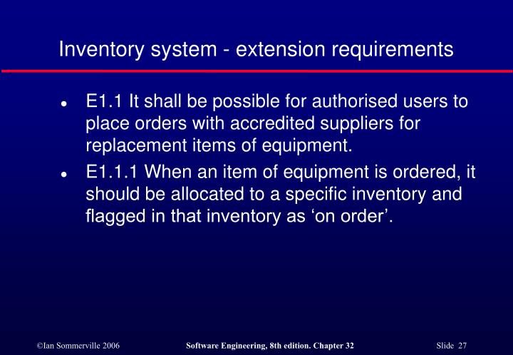 Inventory system - extension requirements