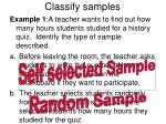 classify samples