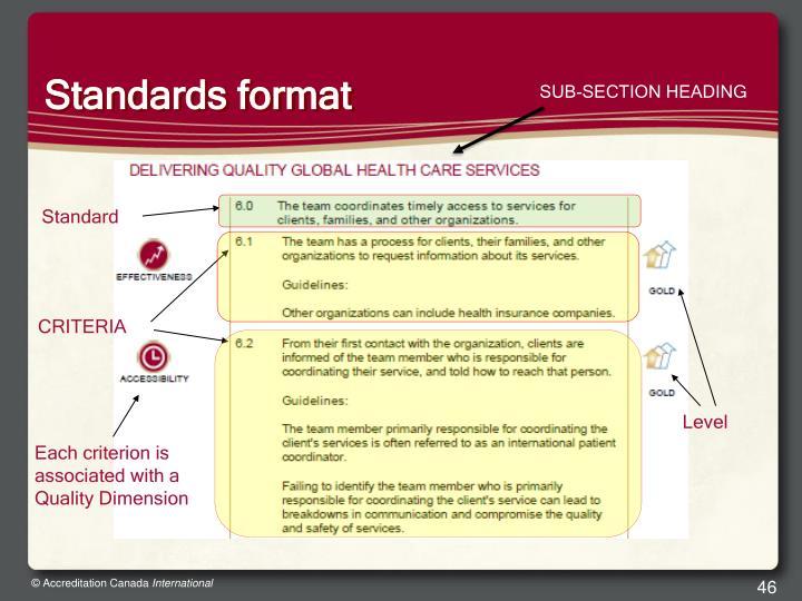 Standards format