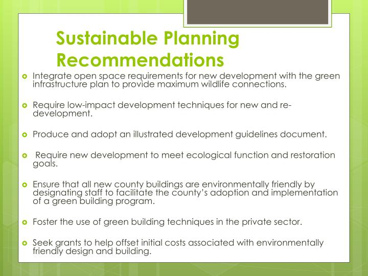 Sustainable Planning Recommendations