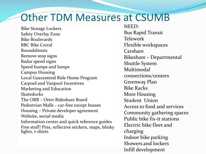Other TDM Measures at CSUMB