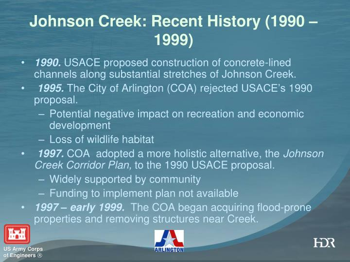 Johnson Creek: Recent History (1990 – 1999)