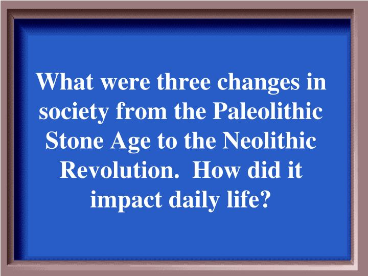 What were three changes in society from the Paleolithic Stone Age to the Neolithic Revolution.  How did it impact daily life?