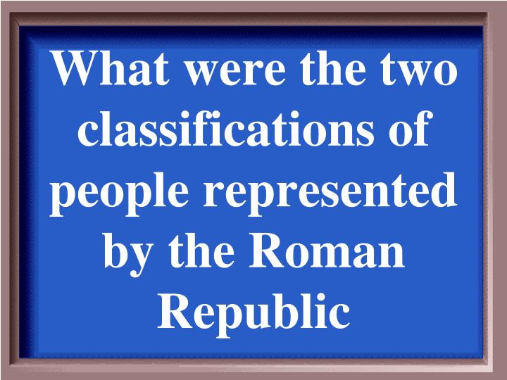 What were the two classifications of people represented by the Roman Republic